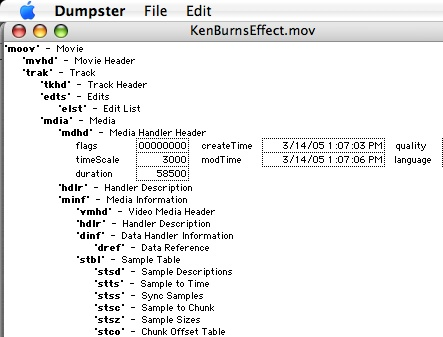 QuickTime file format as seen with Dumpster