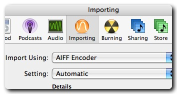 Importing in iTunes