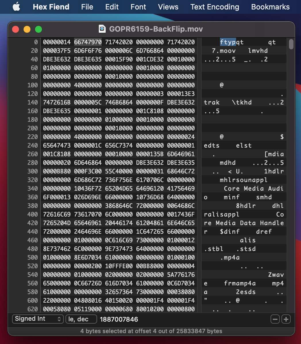 QuickTime file format in a Hex Editor