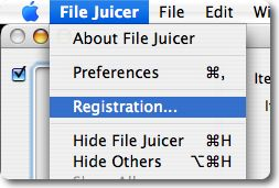 Pick Registration... form File Juicer's menu